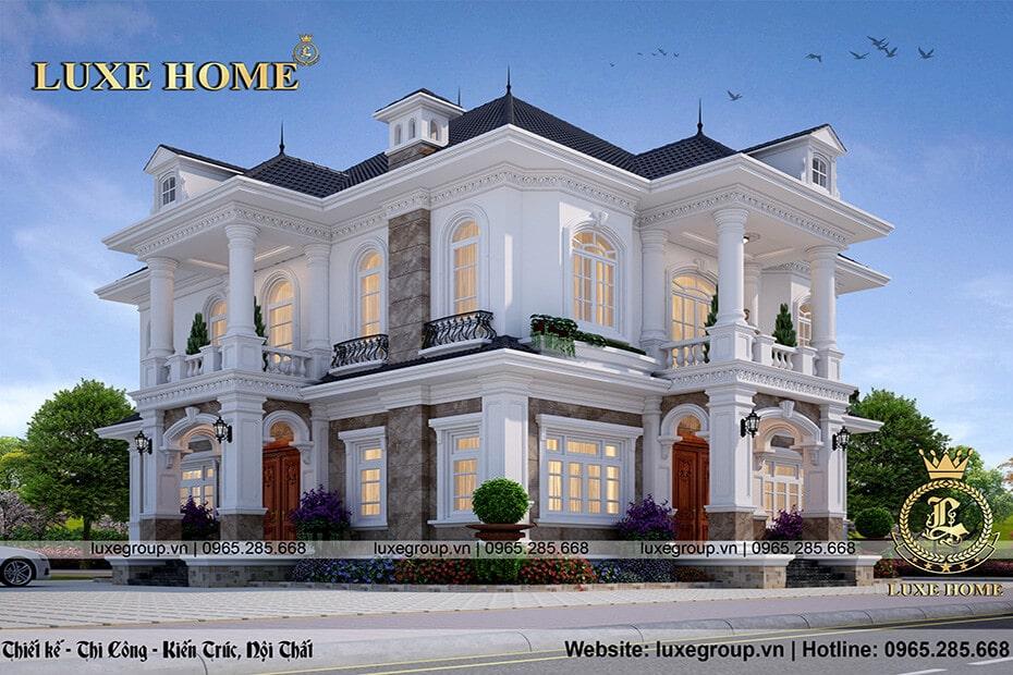 thiết kế biệt thự 2 tầng đẹp bt 2184