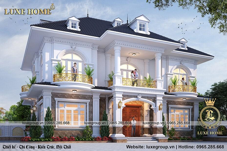 thiết kế biệt thự 2 tầng đẹp bt 2185