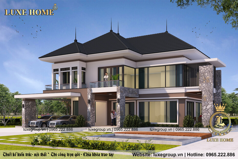 thiết kế biệt thự 2 tầng mái thái bt 21569
