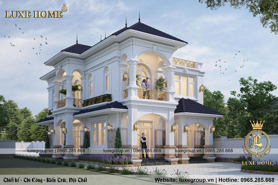 mẫu thiết kế biệt thự 2 tầng tân cổ điển tinh tế