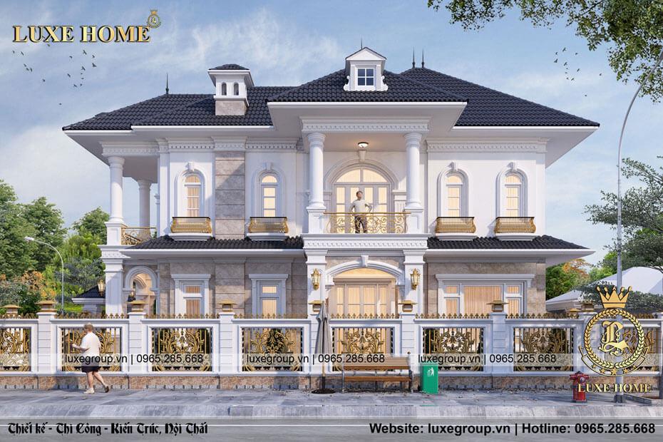 thiết kế biệt thự 2 tầng tân cổ điển đẹp bt 21712