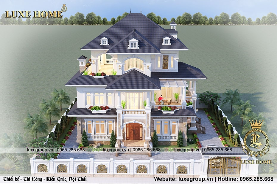 thiết kế biệt thự 3 tầng tân cổ điển bt 3190