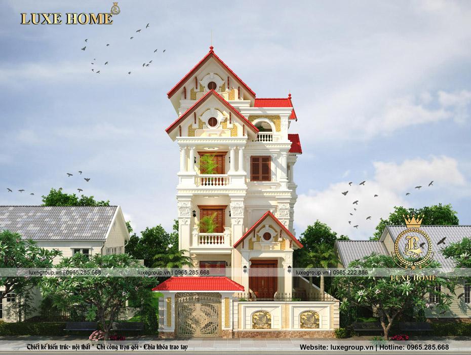 thiết kế biệt thự cổ điển 4 tầng mái thái bt 4117