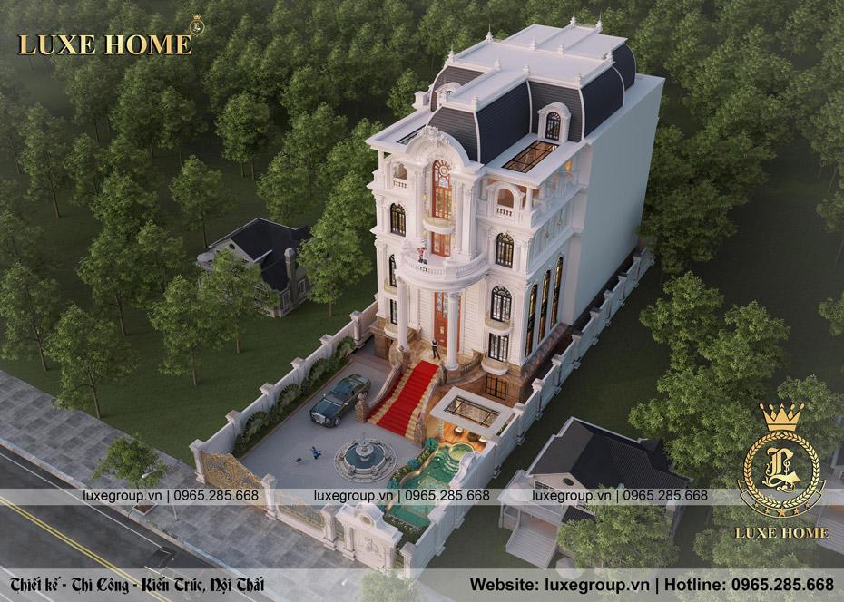 thiết kế biệt thự 5 tầng tân cổ điển pháp bt 5119
