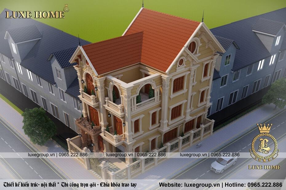 thiết kế biệt thự cổ điển 3 tầng bt 31515