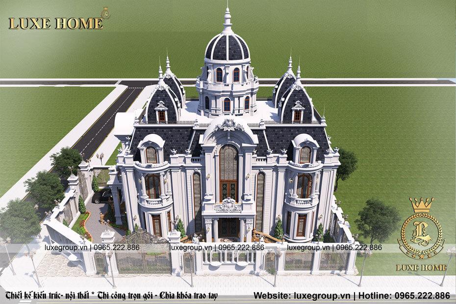 thiết kế biệt thự lâu đài 2 tầng tân cổ điển bt 21688
