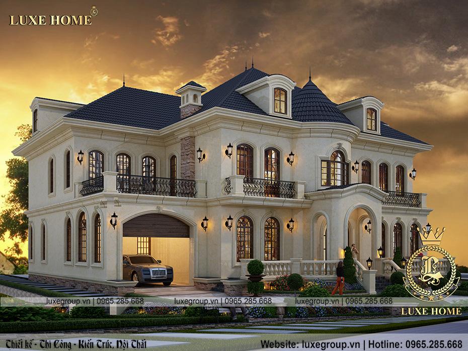 mẫu thiết kế biệt thự kiểu pháp 3 tầng