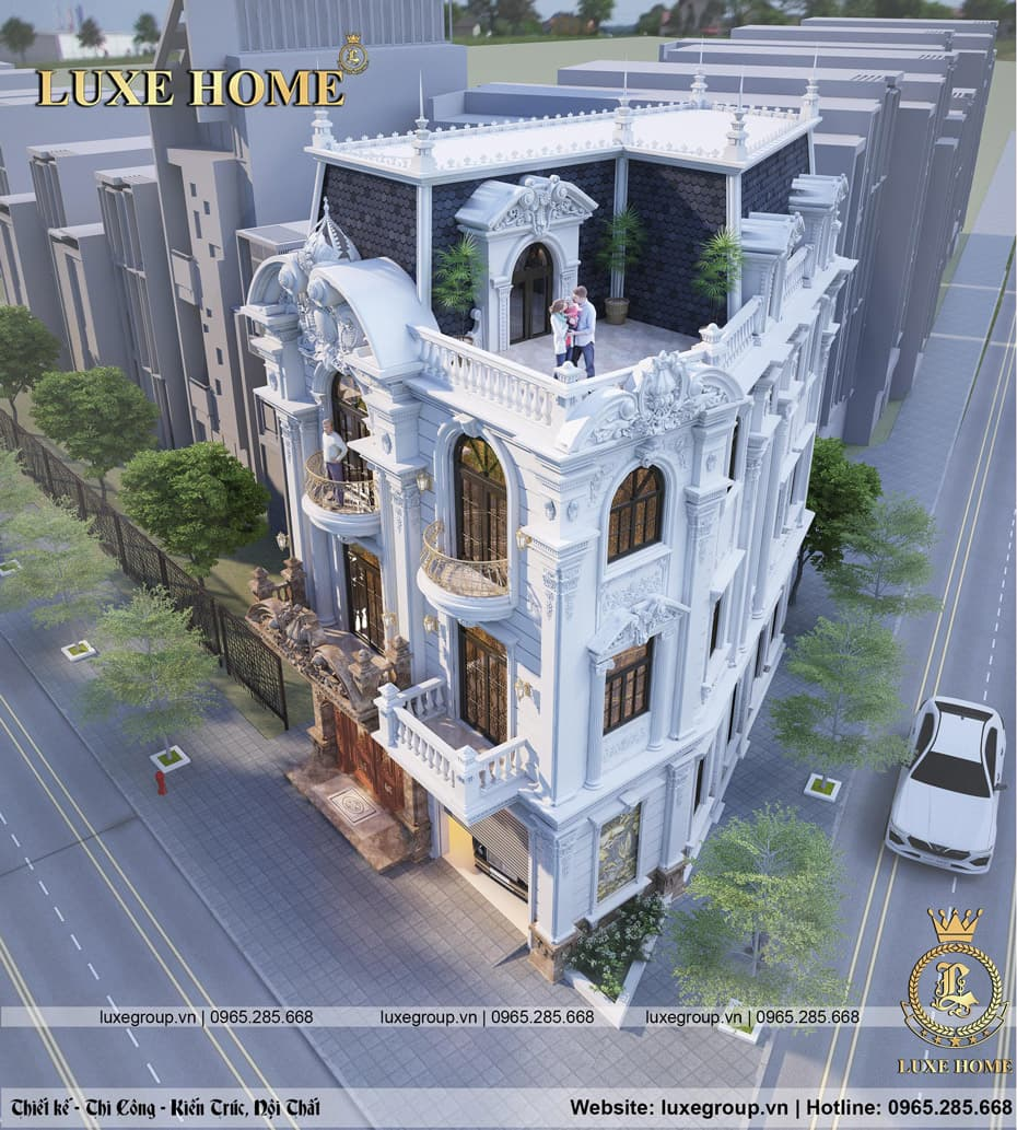thiết kế biệt thự 3 tầng pháp đẹp bt 3120
