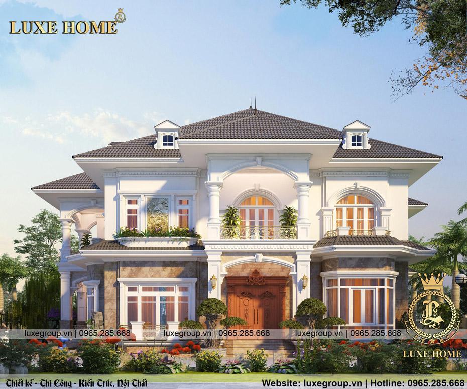 Thiết kế biệt thự sân vườn 2 tầng mái thái bt 2266