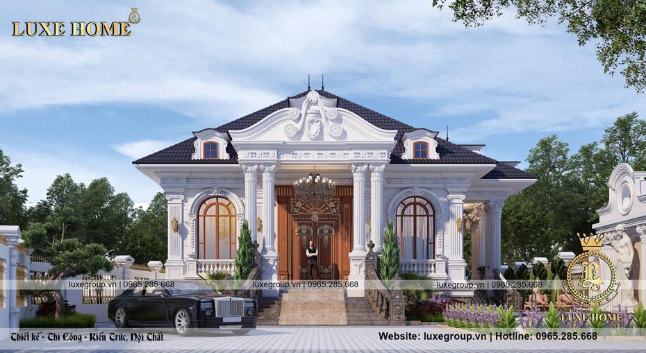 thiết kế biệt thự tân cổ điển 1 tầng bt 1121