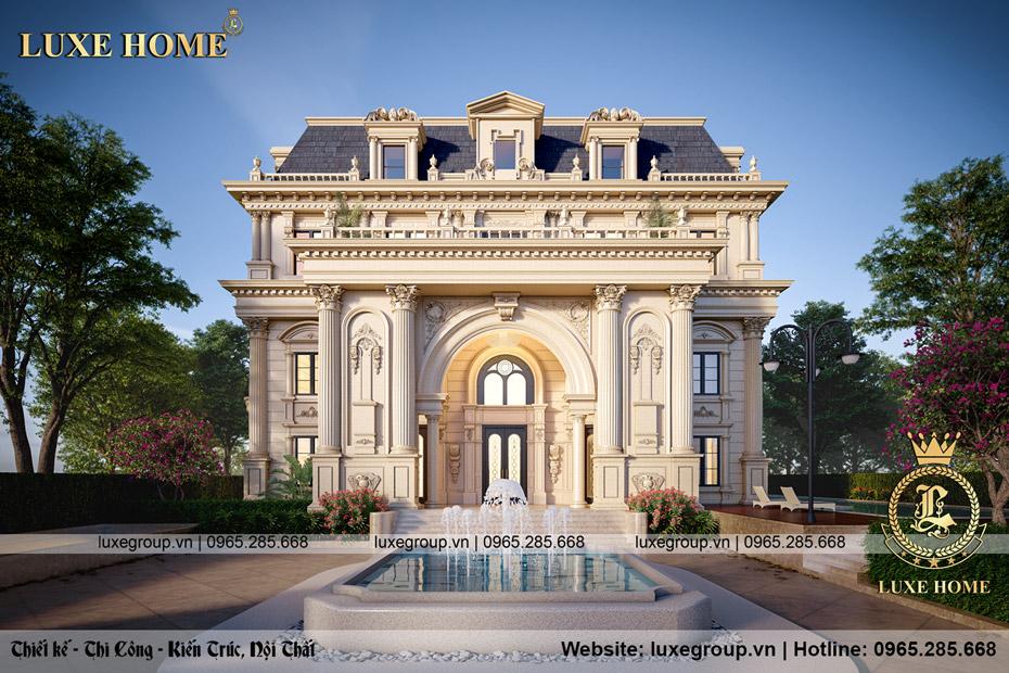 thiết kế dinh thự lâu đài tân cổ điển 3 tầng bt 3240
