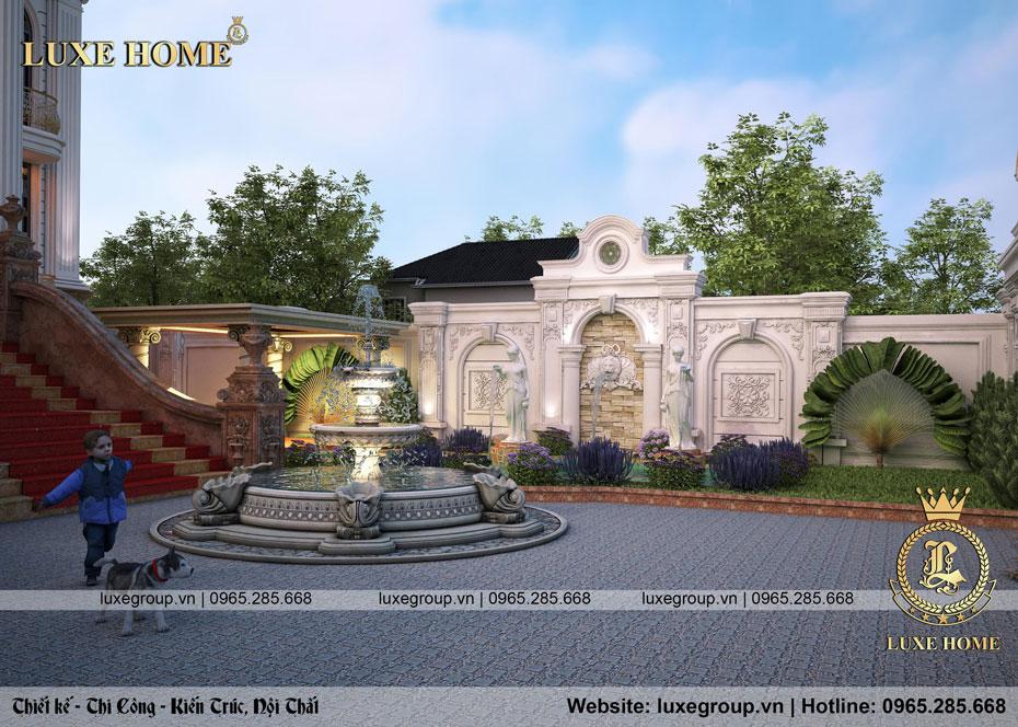 không gian sân vườn lâu đài dinh thự