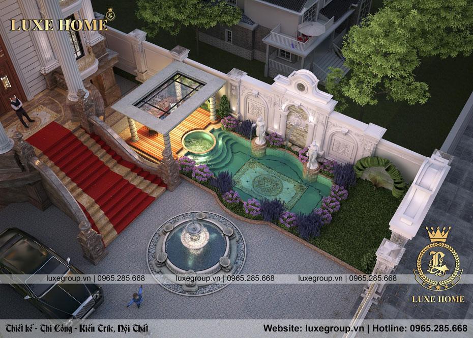 tổng thể sân vườn lâu đài dinh thự đpẹ