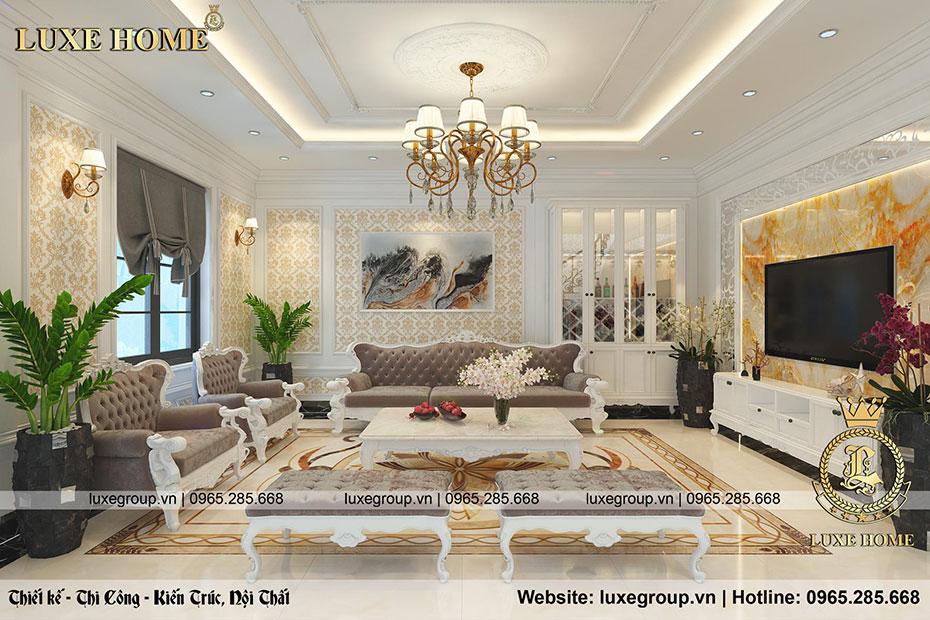 thiết kế nội thất phòng khách tân cổ điển nt 0155