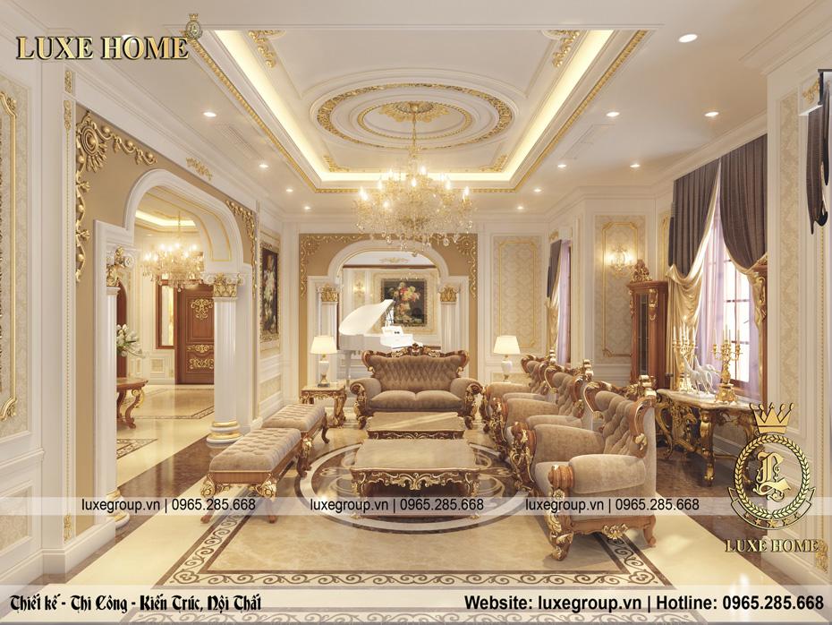 thiết kế nội thất phòng khách biệt thự cao cấp