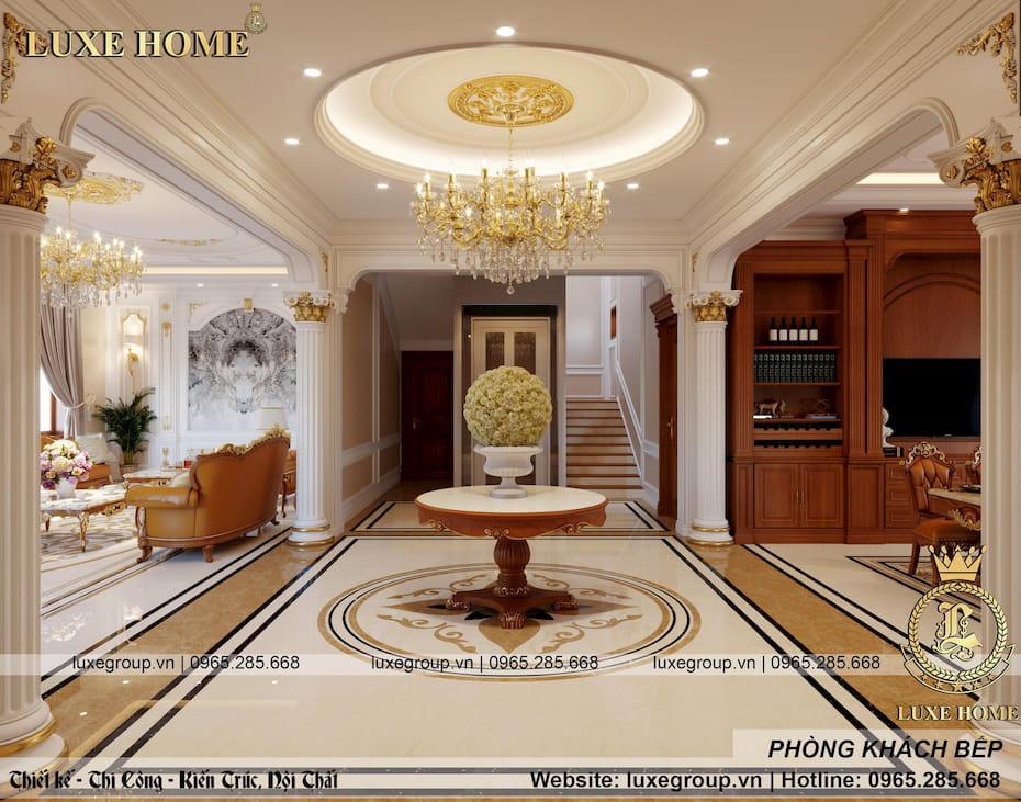 thiết kế phòng khách bếp sang trọng 03