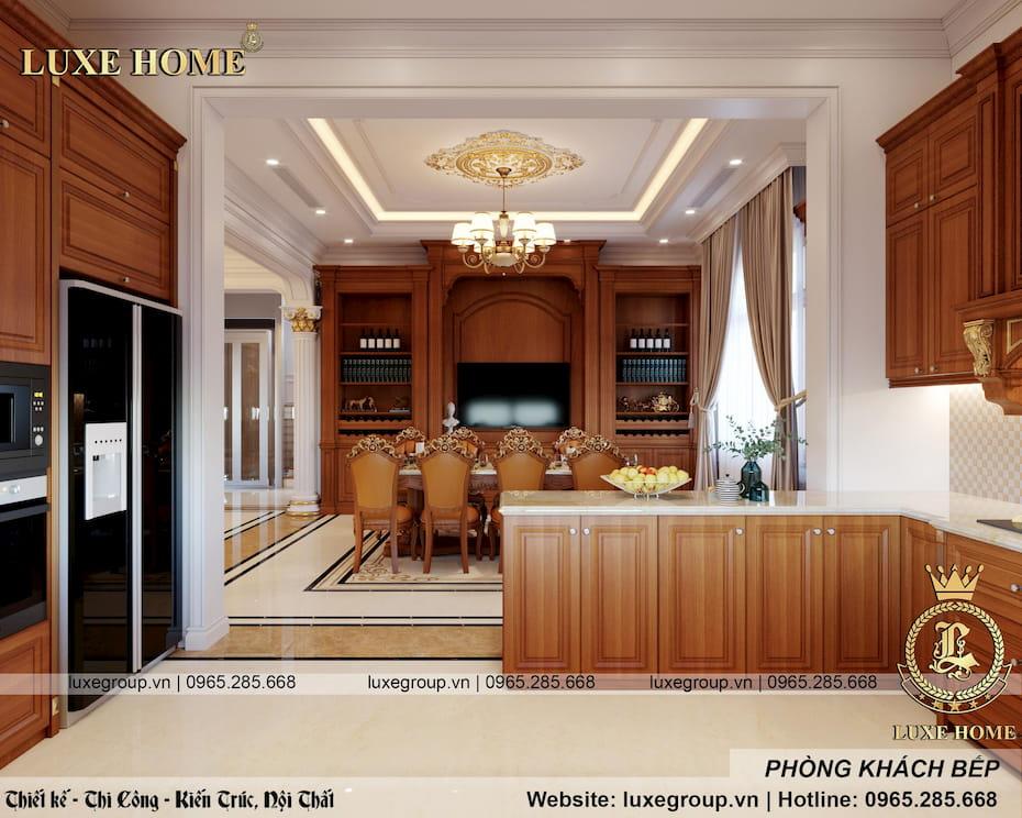 thiết kế phòng khách bếp sang trọng 06