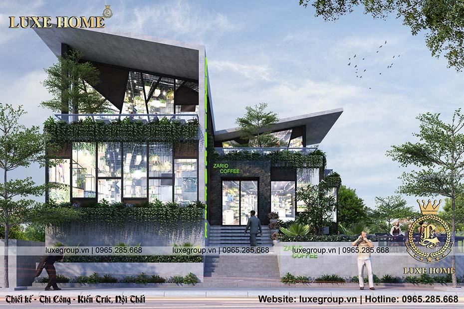 thiết kế quán coffe 2 tầng bt 2219